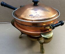 Vintage Copper Chafing Dish Pan Food Warmer Double Boiler Fondue Pan with Stand.