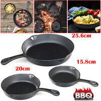 Cast Iron Non Stick Frying Pan Pre Seasoned BBQ Griddle Skillet Grill Frypan Set