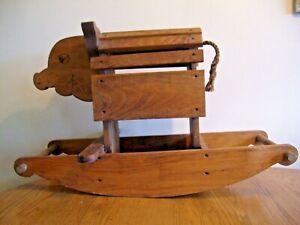 VINTAGE SOLID WOOD CHILD'S PIG SHAPE RIDING ROCKER  ~  Hand Made