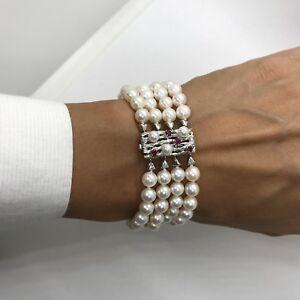 Vintage JKa 14k white gold 4 strand 6mm akoya cultured sea pearl bracelet ruby