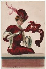HARVARD  University F Earl Christy Signed Ivy League 1908 Pennant Woman Postcard