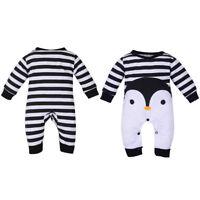 EE_ NE_ Infant Baby Boy Girl Penguin Print Long Sleeve Romper Jumpsuit Warm Gift