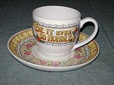 Htf Mary Engelbreit Cup & Saucer Be It Ever So Humble