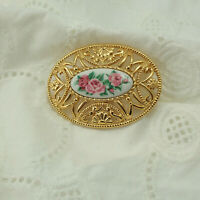 Vintage Oval Pink Rose Floral Gold Tone Pin Brooch By Avon
