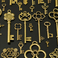 90Pcs Large Antiued Gold Skeleton Keys Pendants wedding vintage old style  z