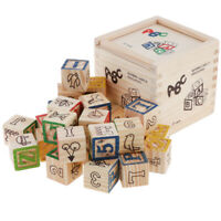 Wooden Letter & Number Block Cube Alphabet Literacy Learning Toy Development