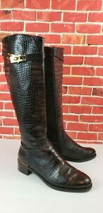 Russell Bromley Women Brown Leather Knee High Zip Boot Moc Croc Embossed size 40