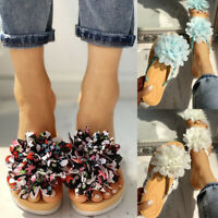 Women's Floral Print Slip-on Slippers Flats Flip Flops Summer Sandals Size 5-8