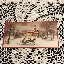 Vintage Greeting Card Christmas Train Station Carriage Snow