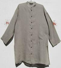 Eskandar BEIGE Light Weight Linen Mandarin Collar Tunic Top w/Pocket (1)  $795