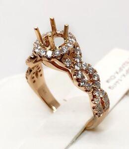 14K Rose Gold Round Semi Mount Diamond Infinity Engagement Ring Setting Mounting