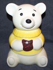 """NICE VINTAGE TEDDY BEAR YELLOW SWEATER EATING COOKIE CERAMIC COOKIE JAR 12"""""""