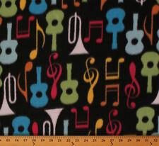 Guitars Trumpets Music Notes Instruments Fleece Fabric Print by the Yard A334.02