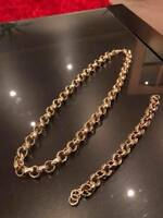 "Luxury 18ct Gold Plated Necklace Belcher Chain 30"" 9"" Bracelet Patterned Set"