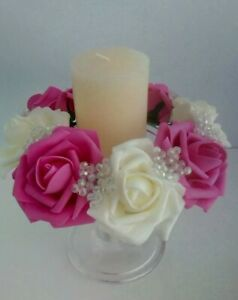 Ivory & hot pink & AB bead candle rings for,weddings , Table Centrepiece.