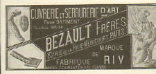 PARIS FOLIE-MERICOURT SERRURERIE BEZAULT PUBLICITE ADVERTISING 1919