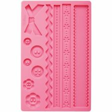 Wilton Fabric Fondant Gum Paste Accents Silicone Decorating Cake Sugarcraft Mold