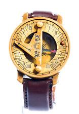 Orologio Bussola Braccialetto in pelle Marrone da Quadrante Solare Oro Vintage