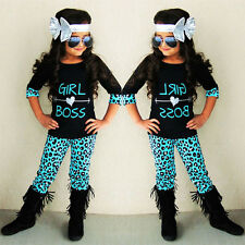 Toddler Kids Baby Girls Outfits T-shirt Tops+Long Pants Clothes Set 2T