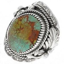 NAVAJO STERLING SILVER MEN'S TURQUOISE RING, BIG BOY STYLE