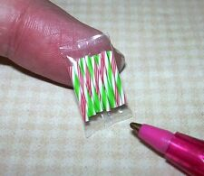 """Miniature """"Lola"""" Christmas Candy Sticks Red-Green, Package of 12 -DOLLHOUSE 1/12"""