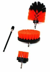 """Drill Brush Set 4 Piece Orange Including 6"""" Extension - Free Shipping"""