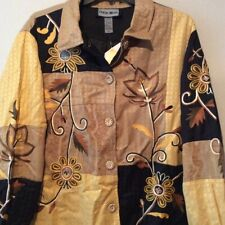 Indigo Moon Womens QVC Jacket Yellow Floral Buttons Embroidered Coat Plus 2X New