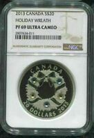 2013 CANADA $20 HOLIDAY WREATH - NGC PF69 UC /w ALL PACKAGING - 999 SILVER
