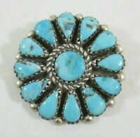 """Vintage Signed JB Sterling Silver & Turquoise Pin/Brooch & Pendant 1 3/16"""" Long"""