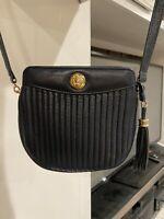 Anne Klein Genuine Leather Shoulder Bag Purse Blue Vintage GUC Rare