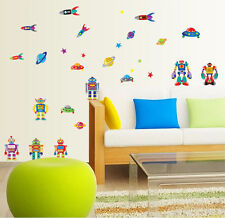 Robots, Rockets and UFO & Planet with stars DIY Removable Wall Decal