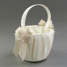 Ivory Cream Satin Flower Girl Basket Wedding Floral NEW