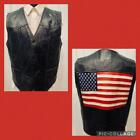 Vintage Black Patchwork Bikers Leather VEST Patriotic USA FLAG 80s Motorcycle