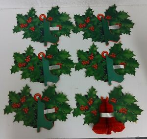 Vintage Honeycomb Paper Holly & Bell Christmas Decoration X 6 JOBLOT