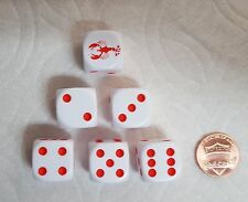 DICE -16mm  6/SET- OP WHITE w/RED LOBSTER #1 & RED PIPS - LOBSTER TAILS ON DICE!