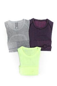 Lululemon Womens Long Sleeve Workout Tops Purple Yellow Grey Size 4 2 Lot 3