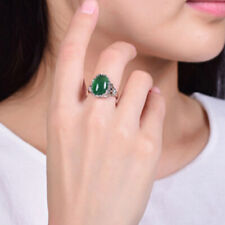 Green Agate Crystal Ring Emerald Emerald Retro Inlaid Chalcedony Index Ring W