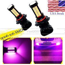 2x Purple Pink 9006 HB4 106SMD High Power LED Bulbs For Car Fog Light truck Lamp