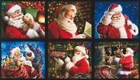 "24"" Fabric Panel - Robert Kaufman Digital Jolly Saint Nick Christmas Santa Block"