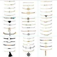 Vintage Women Gold Silver Bangle Chain Charm Pendant Bracelet Fashion Jewelry
