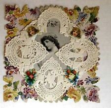 1900s Era Layers Valentine's Day Card Angels Flowers w/ Scraps & Lace