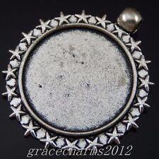 14pcs Vintage Silver Alloy Cameo Base Setting 25x25mm Pendants Jewelry 50203