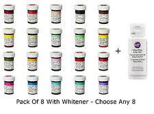 Any 8 x Wilton Icing Paste Food Colouring Concentrated Gel For Cake + Whitener