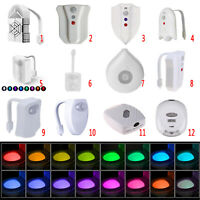 8/16Color Lamp Toilet Bowl Night Light LED Motion Activated Seat Sensor Bathroom