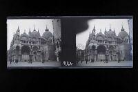 Venice Venezia Italia Targa Italia stereo NEGATIVO 45x107mm Vintage