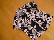 Sommer Bluse Gr.M kurzarm schwarz rosa Blüten Blätter
