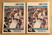 (2 LOT) 2011 Cam Newton Score Rookie Card RC #315 White Jersey Carolina Panthers