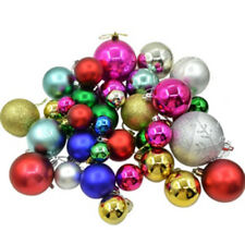 38 x Assorted Christmas Tree Baubles Decorations Safe Plastic 80 60 50 40 20 mm