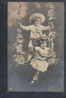42388) Fotokunst AK Kinder Schaukel Blumen Mode 1908 Borghorst