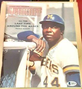 Hank Aaron Milwaukee Brewers Braves SIGNED AUTOGRAPHED 1999 Program Magazine BAS